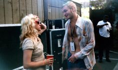 Babes in Toyland's Kat Bjelland & Alice in Chains' Layne Staley backstage at Lollapalooza 1993.