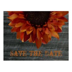 Fall Wedding Save The Date Sunflower Postcard