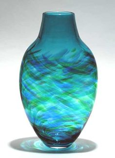 Tall Flattened Vortex Vase: Blue: Michael Trimpol: Art Glass Vase - Artful Home