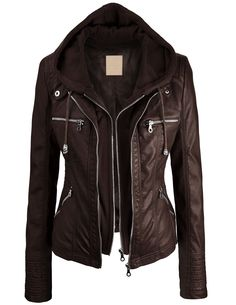 Lock and Love Women's 2-For-One Hooded Faux Leather Jacket on Amazon. Cute!