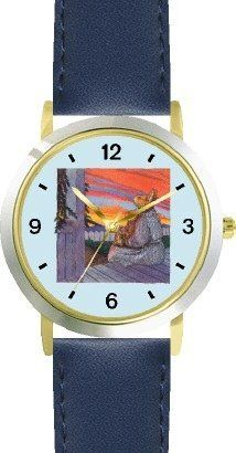 Mommy & Baby Bunny Rabbit Watching Sunset - from Hush Little Baby by Artist: Sylvia Long - WATCHBUDDY® DELUXE TWO-TONE THEME WATCH - Arabic Numbers - Blue Leather Strap-Size-Children's Size-Small ( Boy's Size & Girl's Size ) WatchBuddy. $49.95