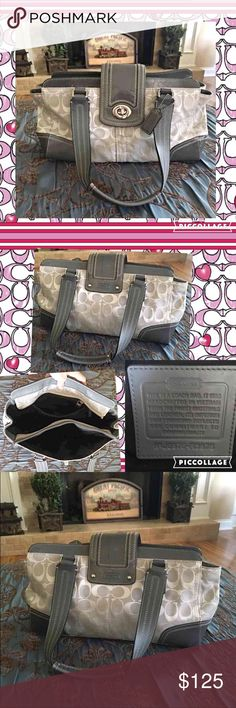 Authentic COACH grey signature bag!  This is a very spacious and gorgeous authentic COACH signature bag with grey patent leather trim! Normal wear as I've had it for many years, but no rips, holes, stains. It is in excellent and super clean condition! Please see pics and let me know if you have any questions! 15' long and 8' tall! Comes with Dustbag. Coach Bags Shoulder Bags
