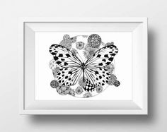 Zentangle Art Butterfly Printable Housewarming Gift by doneBYmargo Printing Services, Online Printing, Printable Art, Printables, Frame It, Minimalist Art, Love And Light, Zentangle, House Warming