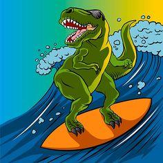 Cartoon illustration of a dinosaur surfing. by JOHNNIE9