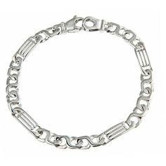 "Sterling Silver Men's Handmade Link Bracelet Rhodium Plated 8.25"" 11.5g ATR Jewelry. $79.00. Save 50%!"
