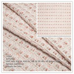 This heavyweight fabric features a Chanel style design. White, coral, lilac and coffee brown fibers are woven together to create a pebbly surface. Fluffed threads running from top to bottom create a check pattern. Chanel Style, Chanel Fashion, Tweed, Light Colors, Lilac, Surface, Fabrics, Coral, Fancy