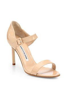 Manolo Blahnik - Nellang Patent Leather Mary Jane Sandals - Saks.com