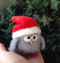 Needle felted animal,felted Christmas owl, felted owl, gift for her, Christmas gift, baby barn owl, barn owl, gift idea ooak handm by Made4ubyJackie on Etsy