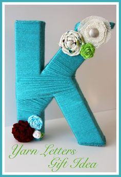 Yarn Letters Gift Idea is an easy, adorable gift with a homemade touch! by whatscookingwithruthie.com #gift_ideas #Christmas #yarn_letters