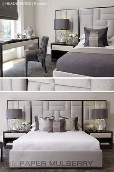padded upholstered headboard in shades of grey || The Paper Mulberry: || HEADBOARDS | Padded and Upholstered