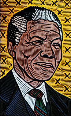 woodcut portrait of Nelson Mandela by Calgary artist Lisa Brawn Mandela Art, Nelson Mandela Quotes, South African Art, Afro, Africa Art, Arte Pop, Black Art, Black History, Illustration