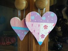 Pair of Pink patchwork decoupage hearts with by DriftwoodAndDebris