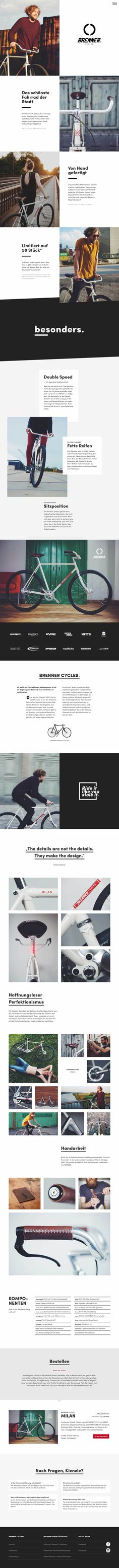 Long scrolling One Pager with great imagery and a lovely responsive design for handmade urban bike brand 'Brenner Cycles'.
