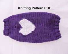 Heart dog sweater knitting pattern - PDF, small dog sweater