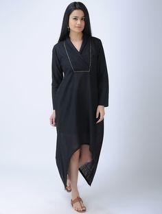 Buy Black V neck Cotton Dress with Asymmetrical Hem Women Dresses Online at Jaypore.com