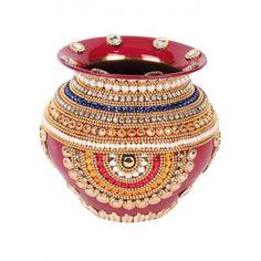 Decorative Copper Kalash Diamond Work