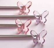 This butterfly hardware would look so cute with custom tab top curtains! I'd recommend the Scalloped Lace - Pink or French Country - Blush!