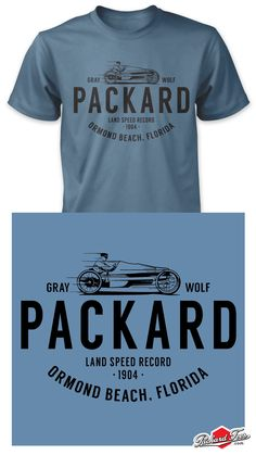 The Packard Gray Wolf is one of the most interesting cars of early racing history.  On January 3, 1904, Mr. Charles Schmidt set a land speed record at Ormond Beach, (Daytona) FL, in the lightning-quick Packard Gray Wolf covering the five-mile course in 4:21.6 minutes or 68.83 mph.  The car had 24 horsepower, a two-speed transmission, and weighed 1,430 pounds.  More graphic t-shirts at PackardTees.com #Packard #PAC #shirt #t-shirt #car art