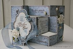 Tri fold shutter card and matching box blue scheme Tri Fold Cards, Fancy Fold Cards, Folded Cards, 3d Cards, Pop Up Cards, Cool Cards, Trifold Shutter Cards, Step Cards, Up Book