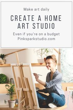 Create a home art studio - Pink Spark Studio Every artist needs some place to create their art. Read here to find ways to make a studio in your home in a budget even if you don't have much space. Artist Storage, Art Studio Storage, Art Supplies Storage, Art Studio Organization, Organization Ideas, Garage Art Studio, Art Studio Room, Art Studio At Home, Painting Studio