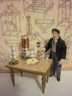 Miniature 1:12 scale steampunk tea table by Pumpkin Hill Studios, via Flickr