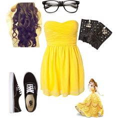 Mackenzie's hipster Disney outfit- Belle Glasses and dress for Cinderella