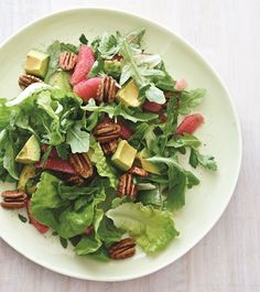 Grapefruit and Avocado Winter Salad with Pecans. So delicious! I added pomegranate seeds as well.