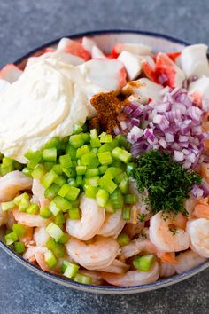 The base of this salad is shrimp and imitation crab meat. The seafood is combined with celery, red onion, fresh dill, Old Bay seasoning, lemon juice and mayonnaise. Everything gets tossed together to make an ultra creamy and flavorful salad. Great Salad Recipes, Sea Food Salad Recipes, Shrimp Salad Recipes, Seafood Recipes, Cooking Recipes, Healthy Recipes, Shrimp Salads, Cooking Tips, Crab Salad
