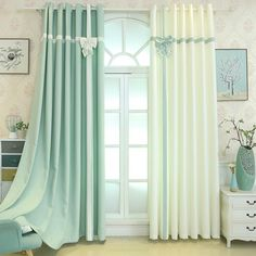 White Green Bowtie Curtain Set