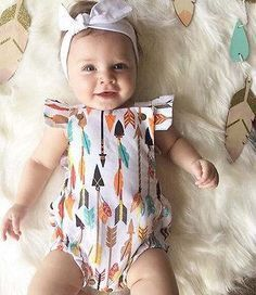- Baby Girl - Summer Romper - Short Sleeve Free Shipping! Please allow 2-4 weeks for delivery.