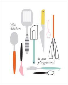 Poster keukenspullen van Isa Form met de tekst This kitchen is our playground. Deze poster heeft een afmeting van 30,5 x 40 cm.: