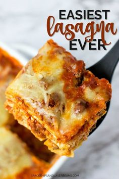 Easiest Lasagna Ever -- you'll love this simple, quick, cheesy homemade recipe!