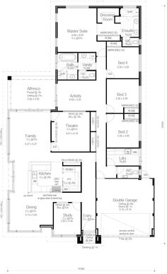 Really Like the kitchen/dining/lounge layout and possibly even how the theatre has been fitted into layout. My House Plans, House Floor Plans, Building Design, Building A House, Floor Plan 4 Bedroom, Sims House, House Goals, Dream Decor, Home Builders