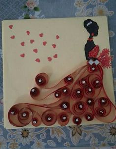 Quilling a bride in red......