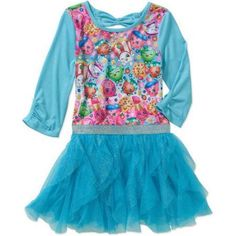 Shopkins Girls' Poly Jersey Dress with Sublimated Front, 3/4 Sleeves and Tulle Cascade Skirt, Blue