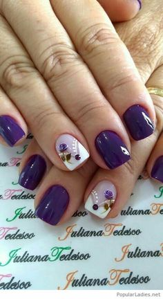 Nail art designs with awesome colors 2018 - Reny styles Nail Art Diy, Diy Nails, Diy Art, Diy Nail Designs, Nail Designs Spring, Purple Nails, Purple Art, Purple Rose, Purple Flowers