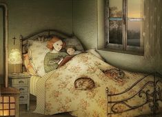 """""""Once again I thank Snow Wolf for finding this Beautiful gentle Illustration we all will like ( hopefully) Bettina Baldassari. Nighty night from us all at la maison des mains. H DrS Toots and Max. Reading Art, Diy Décoration, Children's Book Illustration, Whimsical Art, Cat Art, Vintage Art, Childrens Books, Book Art, Art Drawings"""