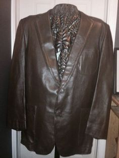 Designer Leather Jacket 42R Brown Colored Super Supple Sexy