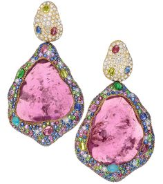 Designed by Margot McKinney:  Set with pave diamonds and multicolored sapphires, the set boasts 170.51 carats of sapphires and is spotted with shades of the pink, green, turquoise, blue, red and citron stones. Available exclusively in Neiman Marcus stores and priced at $155,000.
