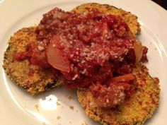 Gluten-Free Oven Roasted Eggplant Parmesan With Bolognese Sauce.
