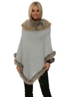 JAYLEY Smoke Faux Fur Fine Wool Polo Poncho