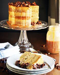 Gluten Free Caramel Cake with Salted Caramel Italian Meringue Buttercream | Made with @BobsRedMill Gluten Free 1-to-1 Baking Flour. BobsSpringBaking | ofbatteranddough.com