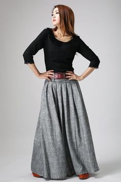 Maxi skirt women skirt linen skirt pleated maxi skirt long linen skirt gray skirt skirt with pockets casual skirt xiaolizi 0911 Grey Maxi Skirts, Womens Maxi Skirts, Pleated Maxi, Gray Skirt, Gray Maxi, Women's Skirts, Long Skirts, Casual Skirts, Girl Skirts