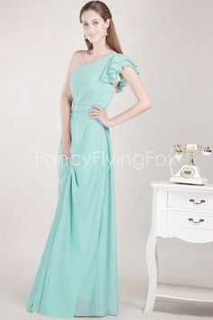 Jade Chiffon One Shoulder A-line Full Length Bridesmaid Dresses With Frills at fancyflyingfox.com