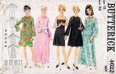 1960s Cocktail Dress Pattern Butterick 4622 Vintage Sewing Pattern Sheer Dress with Slip Underdress Maxi or Knee Length Bust 32