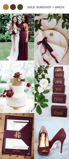 burgundy wedding 2017 trending gold burgundy and green wedding color ideas Wedding 2017, Fall Wedding, Our Wedding, Trendy Wedding, Chic Wedding, Indoor Wedding, Rustic Wedding, Wedding Reception, Wedding Vintage