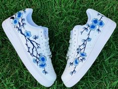Blue Cherry Blossom Blue Cherry Blossom All Customs Are Made to Order Processing time: Days to ShipDomestic Shipping: Day DeliveryInternational Shipping: Week DeliveryCanada/Australia Shipping: Week DeliveryAll four sides. Custom Painted Shoes, Custom Shoes, Painted Vans, Custom Vans, Painted Sneakers, Custom Sneakers, Hand Painted Shoes, Custom Clothes, Sneakers Fashion