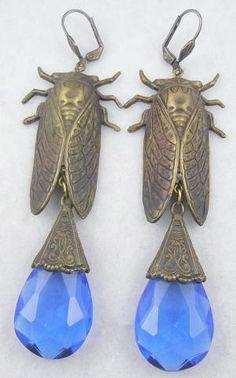 Czech Cicada Blue Glass Drop Earrings