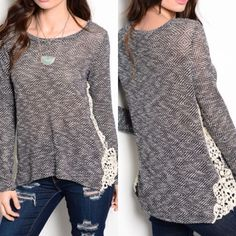 Black sweater 🌟5 STAR RATED!🌟COMMENT WHAT SIZE NEEDED AND I WILL MAKE A SEPARATE LISTING FOR YOU! An adorable lightweight long sleeve sweater with crochet side panels. Slub knit texture and a rounded neckline. This top is supposed to be a very loose and free-flowing top.   Available in S M L 48% Polyester 48% Rayon 4% Spandex 🚫NO TRADES- PRICE FIRM UNLESS BUNDLED🚫 🔹Necklace pictured is also available!🔹 Sweaters