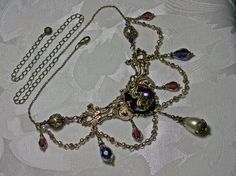 Amethyst Purple Crystal Ivory Pearl Antiqued by TitanicTemptations